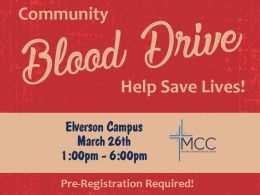 MCC Community Blood Drive March 2021